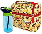 Toddler Lunch Bag and Water Bottle Set, Lunch-Box for Boys Kids Daycare, Insulated Boxes Baby Boy Pre-School, Container for Small Kid Snacks Lunches, 2 Compartments, Yellow Red Trucks