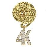 Colgante de diamante 4K de 4 K, diseño simple, tendencia hipHopman DJ único producto (oro, plata), joyería, regalo, 123, color, dorado