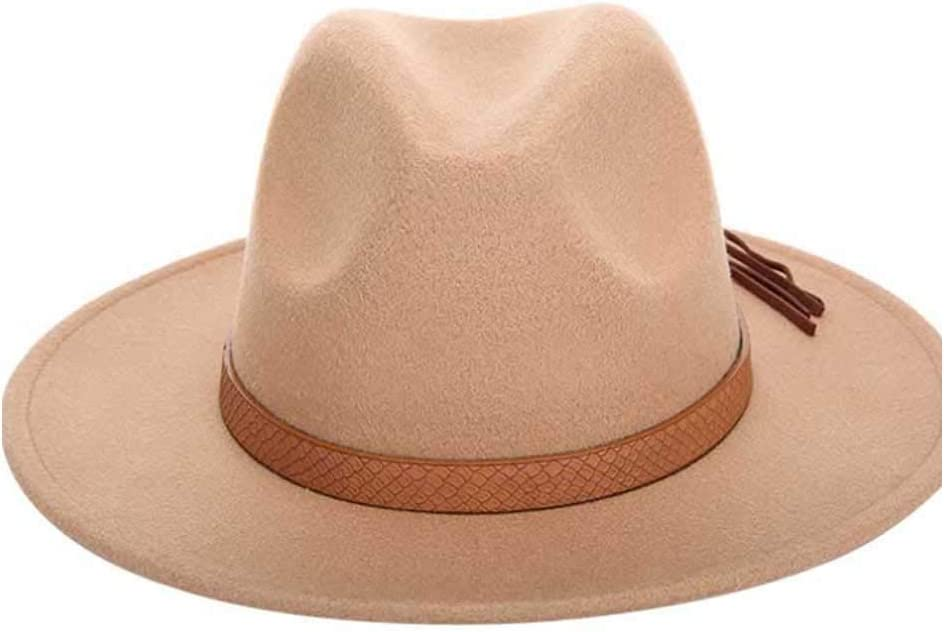 ZLQQLZ Women Cap Men Women Fedora Hat Wool Felt Leather Woven Belt Classical Wide-Brimmed Autumn Winter Fedora Hat (Color : Natural, Size : 56-58CM)