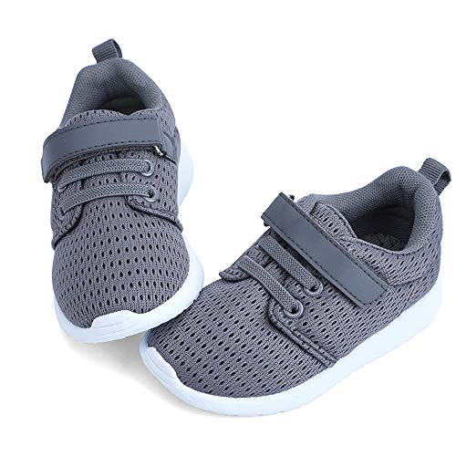 hiitave Toddler Boy Shoes Casual Tennis Shoes Breathable Sneakers for Trail Running,Fall Drak Grey/White 8 M US Toddler