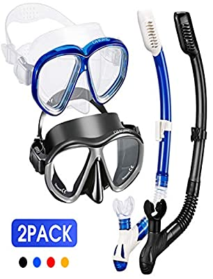 OMORC Snorkel Set for Couples,2 Pack Anti-Fog Tempered Glass Snorkel Sets,Free Breathing Anti-Leak Snorkeling Package Set,Snorkel Gear for Adult Youth,Snorkel Kit Bag Included (Black and Blue)