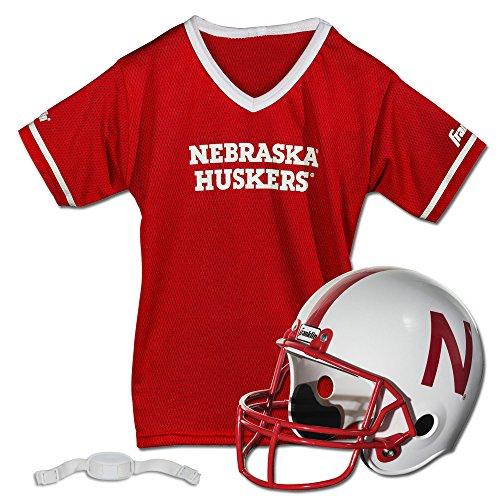 Franklin Sports Nebraska Huskers Kids College Football Uniform Set - NCAA Youth Football Uniform Costume - Helmet, Jersey, Chinstrap Set - Youth M