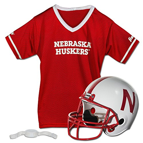 Franklin Sports Nebraska Huskers Kids College Football Uniform Set - NCAA Youth Football Uniform Costume - Helmet, Jersey, Chinstrap Set - Youth M