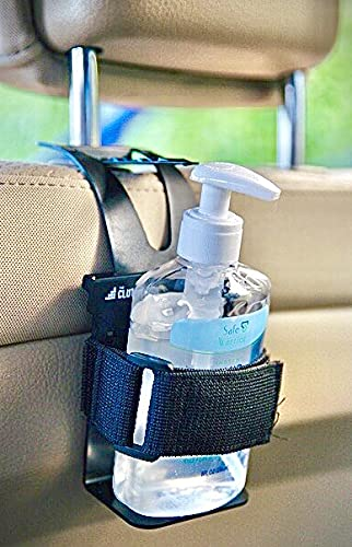Hand Sanitizer Holder for Car - Accessory & Organizer Mounts Bottles to Dashboard, Seat-back, Air-Vent - Similar to Phone Mount/Cup Holder - Perfect for Travelers, Parents, Kids, Drivers, Taxi!