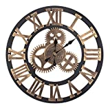 Bengenta 23' inch Vintage Gear Wall Clock-Noiseless Silent Non-Ticking Wall Clock - Large 3D Retro Rustic Country Decorative Luxury for House Warming Gift(Roman-Black&Gold)