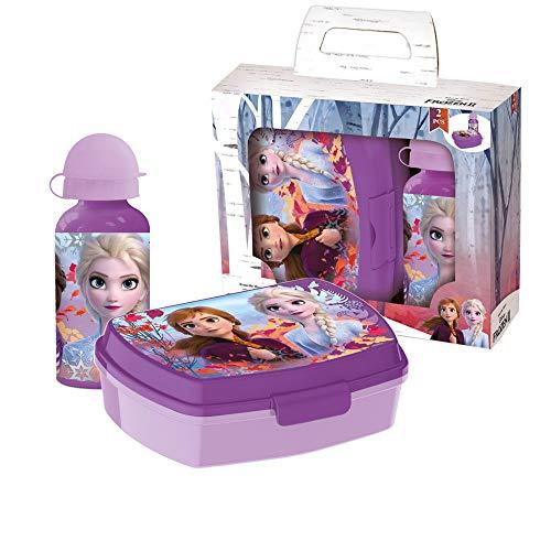 Disney Frozen Lonchera con Botella Aluminio para Beber II | Set de Lonchera