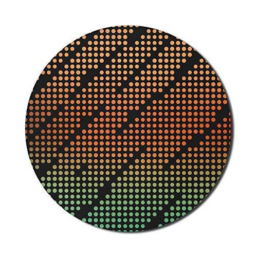 Alfombrilla para ratón Disco para computadoras, concepto de puntos degradados, elementos geométricos abstractos, alfombrilla redonda antideslizante de goma gruesa para juegos moderna, redonda de 8 ',