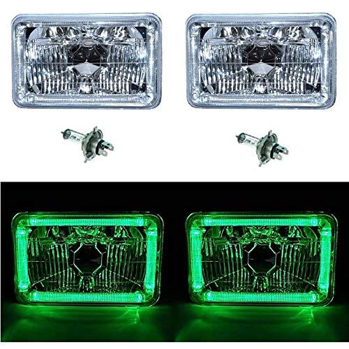 OCTANE LIGHTING 4X6 Green Led Halo Angel Eye Halogen Headlight Headlamp Bulbs Crystal Clear Pair