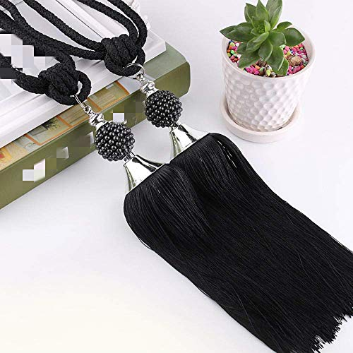 1Pair Tassel Curtains Tieback Curtain Rope,For Home Office Decorative,Curtain and Blind Accessories -black