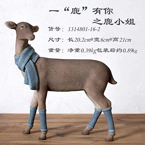 Cranky Orange Resin Deer Sweater Figura Escultura nórdica Animal Estatua joyería decoración del hogar Sala Mesa Decorativa, Bufanda Ciervo
