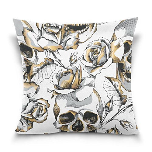 ALAZA Double Sided Pillow Covers Halloween Gold Skull and White Rose Flowers Cotton Velvet Square Pillow Slipcovers 20x20 Inch Decorative for Chair Auto Seat