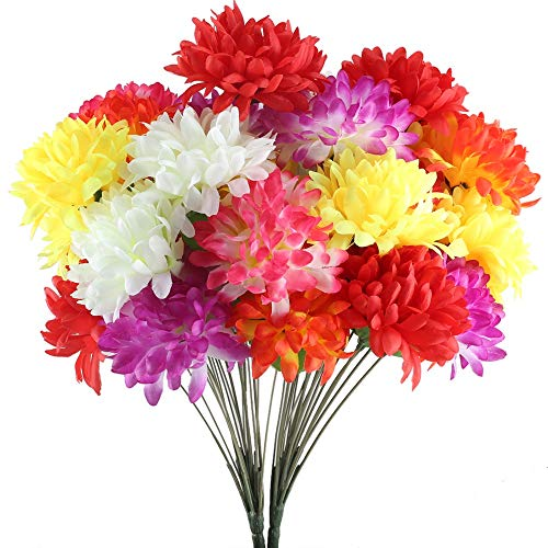XYXCMOR 2 Pack 18 Heads Artificial Fake Mums Silk Autumn Flowers Bouquet Arrangements Home Garden Dining Table Windowsill Wedding Christmas Party Cemetery Centerpiece Decor Multicolor