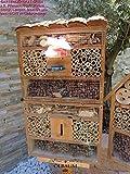 BTV Haus & Garten 1x XXL insektenhotel Rindendach HOCH, Bienenhaus mit Standfuß UND TRÄNKE insektenhotel Rindendach HOCH Hellbraun