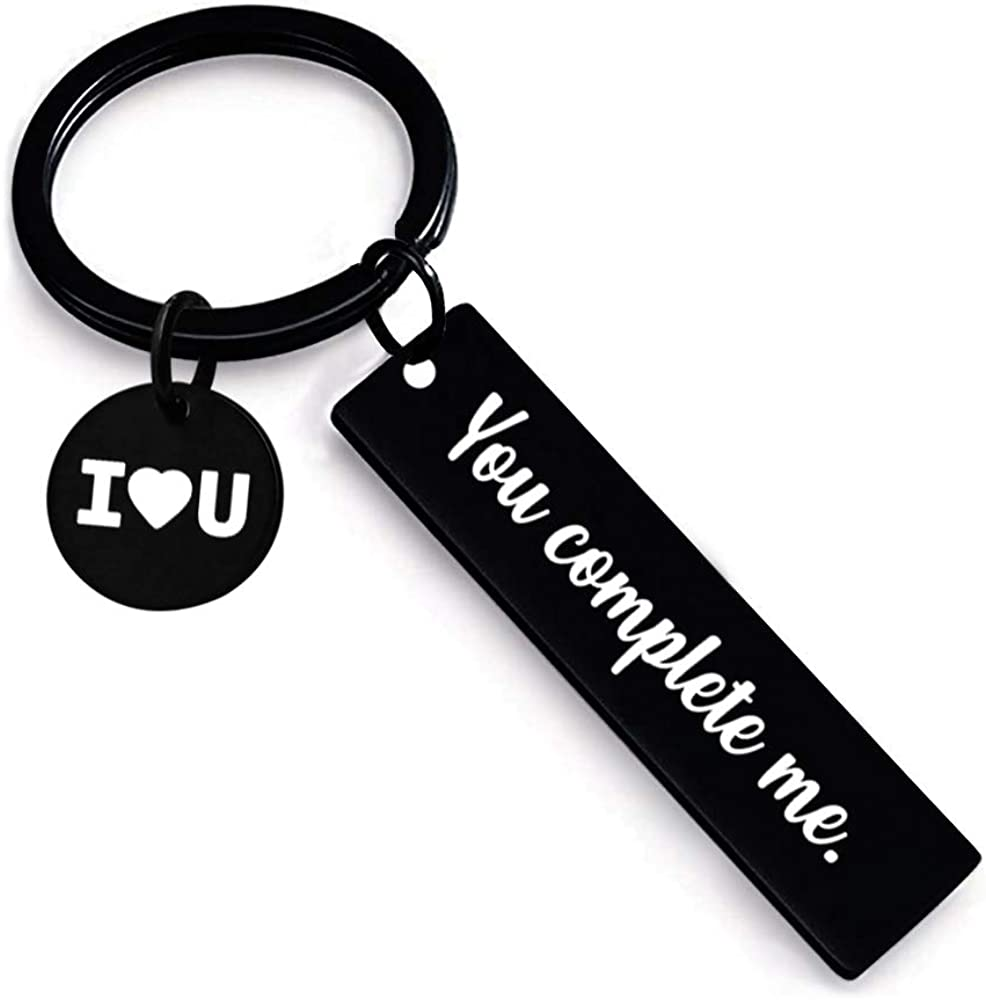 You Complete Me Keychain Gifts for Him Her Men Women Wife Husband Boyfriend Girlfriend I Love You Key Chain Couple Lover Anniversary Birthday Present