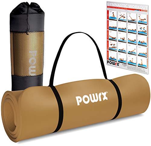 POWRX Gymnastikmatte Premium inkl. Trageband + Tasche + Übungsposter GRATIS I Hautfreundliche Fitnessmatte Phthalatfrei 190 x 60, 80 oder 100 x 1.5 cm (Braun, 190 x 60 x 1.5 cm)