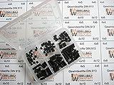 120 Stück Gewindestifte Set M4 x 4 5 6 8 10 12 mm DIN 913 45H mit Kegelkuppe Wurmschrauben...