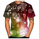 3D Manches Courtes T-Shirt Unisexe T-Shirt Décontractée T-Shirt imprimé de Flamme de Note de Musique pour Homme Tees été col Neck Chemise Cyclisme