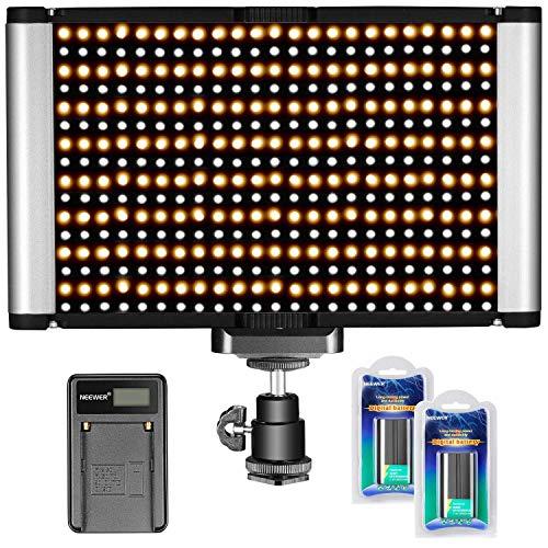 Neewer Kamera-Video-Licht-Set, dimmbar, 280 LED-Panel CRI 96+ 3200-5600K, 2 wiederaufladbare Li-Ionen-Akku und...
