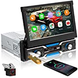 podofo Android Single Din Touchscreen Car Stereo in-Dash GPS Head Unit 7 inch Flip Out Radio with Bluetooth Backup Camera Support USB FM Aux-in WiFi Mirror Link for iOS/Android Phone