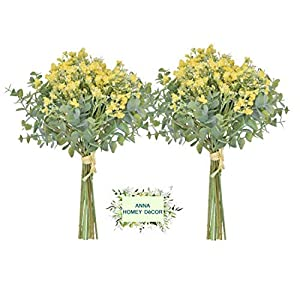 Anna Homey Decor Artificial Baby Breath Flowers in Bulk Artificial Plants Gypsophila with Silver Dollar Eucalyptus Leaves Fake Flower for Wedding bonquet Office Home Decoration (Yellow -Pack of 2)