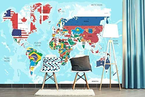Fototapete 3D schöne Flaggenweltkarte 400x280cm Ölgemälde auf Leinwand Wohnzimmer Schlafzimmer Büro Flur Dekoration Wandbilder  XXL Moderne Wanddeko - YCRY Tapeten
