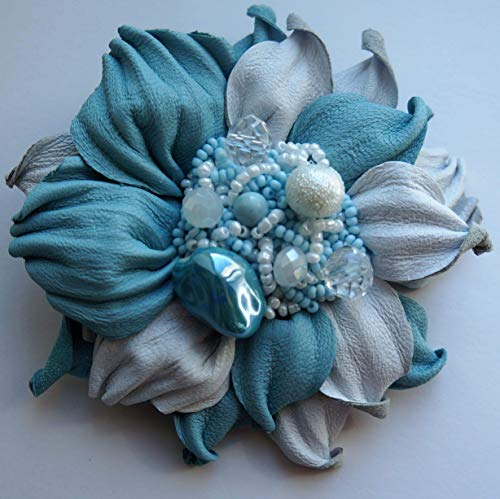 Gift for mom, HandMade Gift made in Italy, The unique Gift for mom, wife, friend woman by Gracefully Made Jewelry, Natural leather flower brooch & Free Gift Box (light blue)