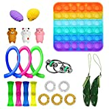 Ma.Lina.Ann Fidget Toys Set, Sensory Toys Pack Cheap for Kids Adults, Simple Dimple Figetget Toys, Stress Relief and Anti-Anxiety Tools, Fidgeting Game Kill Time (Square 21 Pack)