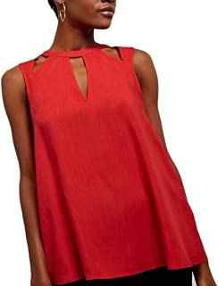 FRPE Womens Solid Color Chiffon Hollow Out Plus Size Sleeveless Top T-Shirt Blouse