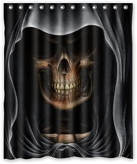 Shower Curtain Eco-Friendly Waterproof Grim Reaper Skull Death Bathroom Polyester Fabric 60(w) x72(h) Inch