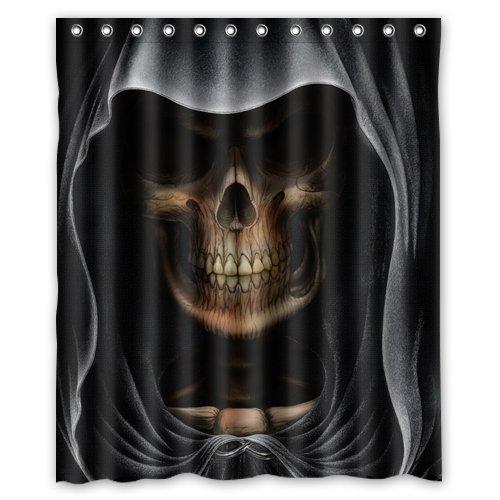 Shower Curtain Duschvorhang, umweltfre&lich, wasserdicht, Motiv: Sensenmann, Totenkopf, aus Polyester, 152,4 x 182,9 cm (B x H)