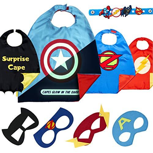 Costumi da Supereroi per Bambini - Regali di Compleanno - Costumi di Carnevale - 4 Mantelli E Maschere - Logo di Captain America Visibile al Buio – Giocattoli per Bambini E Bambine