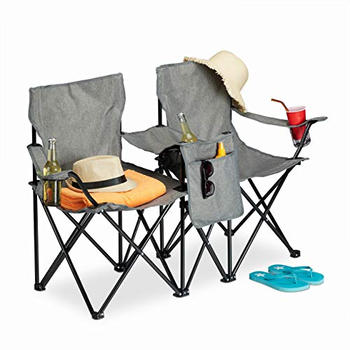 Relaxdays Doppel Campingstuhl, Faltbarer Doppelklappstuhl, Getränkehalter, Staufach, tragbar, HBT 80 x 139 x 46 cm, grau
