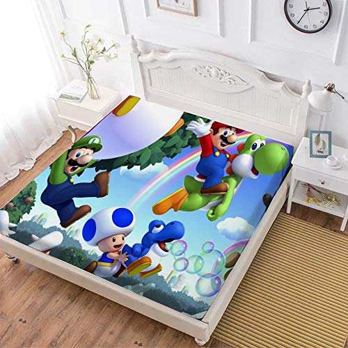 Fitted Sheet,Super Mario Luigi Yoshi (1),Soft Wrinkle Resistant Microfiber Bedding Set,with All-Round Elastic Deep Pocket, Bed Cover for Kids & Adults,twin (47x80 inch)