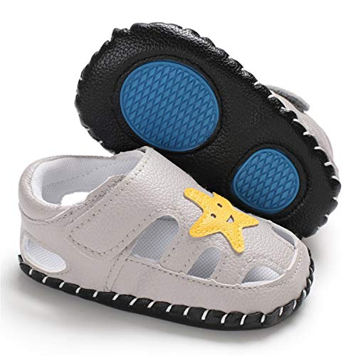 CENCIRILY Baby Boys Girls Sandals Rubber Sole Walking Sneakers PU Leather First Walking Infant Cartoon Slippers Crib Shoes (01 grey, 6_months)