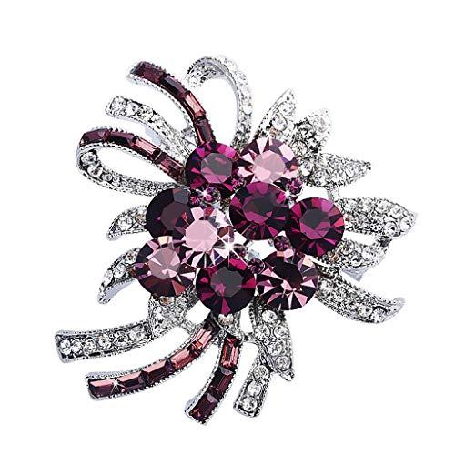 BW Jewelry Frauen Brosche Kristall Strass Vintage Mode Accessoires Blumen-große Brosche Poncho Schal Hut Corsage Clip, Lila (Color : A)