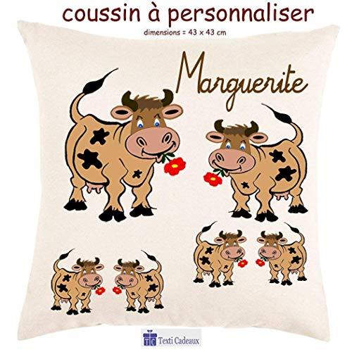 Coussin avec sa Housse Vache Toucher très Doux Personnalisable avec un Prénom Exemple Marguerite