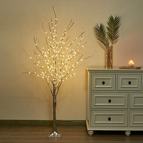 Vanthylit 5FT LED Tree with Fairy Lights Warm White 217LT Sliver Tree Lights for Home Wedding Holiday Outdoor Decor