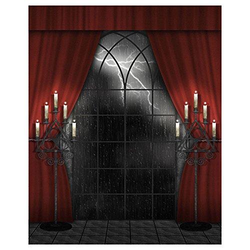 SODIAL(R) Fotografie Hintergrund Indoor 150x200cm Halloween Hintergrund Rot Vorhang Studio Hintergrund, Horror regnerischen Nacht