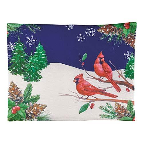 Rustic Winter Cardinal Scene Fleece Sham Set Christmas Bedding Accessory