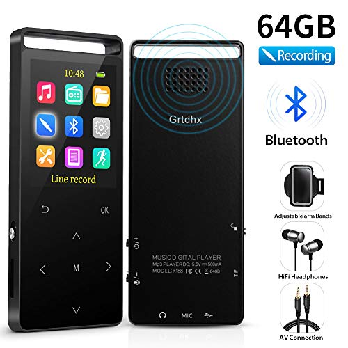 MP3 Player, 64GB MP3 Player with Bluetooth, Hi-Fi Lossless Sound Music Player with FM Radio, Voice Recorder, Pedometer, Expandable up to 128GB TF Card, with Armband and Earphone, Black