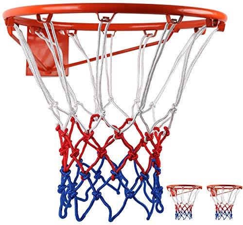 BlesMaller Profi Basketballnetz Set 5mm Nylon Basketball Ersatz Netz,Dauerhaft Ballnetz Für Standard Größe BasketballKorb Ersatznetz für Outdoor Sports Training,12 Schleifen 3 Stück(Rot + Weiß + Blau)