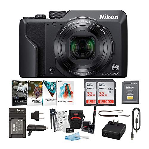Nikon COOLPIX A1000 Compact Digital Camera 4K Video with 32GB Card 2-Pack and Battery with Charger and Accessory Bundle (6 Items)