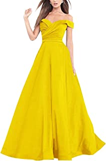 Jonlyc A Line Off The Shoulder Satin Long Prom Dress Evening Party Gowns for Women