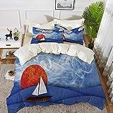 ropa de cama - Juego de funda nórdica, decoración náutica para velero, velero con sol y nubes en agua nebulizada con olas Funky, juego de funda nórdica de microfibra hipoalergénica con 2 fundas de alm