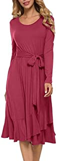 Yi shang Womens Classic Long Sleeve Loose Plain Knee-Length Ruffle Dress with Belt