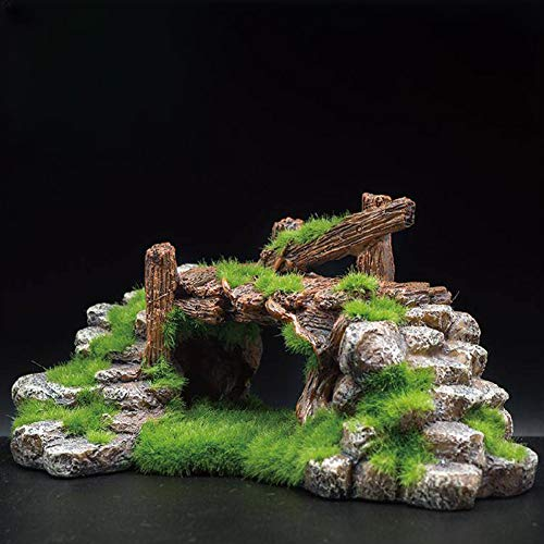 Rabusion New for Aquarium Resin Moss Bridge Fish Cave Tortoise Cylinder Landscape Rockery