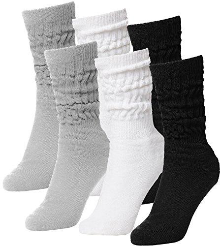 Brubaker 6er Pack Unisex Slouch Socken für Fitness Workout Yoga Gymnastik Wellness Schwarz/Weiss/Grau Gr. 39/42