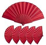 Lote 25 Abanicos de varillas de plastico y tela poliester, Med 43 x 23 cm | 47 gr, Abanicos baratos, detalle boda, bautizos, comuniones, Abanicos personalizables (Rojo)