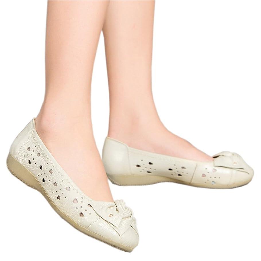 モナリザ飢えた国際[テンカ] 婦人靴 歩きやすい フラットシューズ レディース ラウンドヘッド パンプス モカシン ナースシューズ ローヒール 軽量 滑り止め 痛くない 柔らかい 甲飾り 安定感 通勤 通学 オフィス 結婚式 クッション