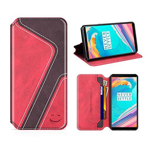 MOBESV Smiley OnePlus 5T Hülle Leder, OnePlus 5T Tasche Lederhülle/Wallet Hülle/Ledertasche Handyhülle/Schutzhülle mit Kartenfach für OnePlus 5T, Rot/Dunkel Violett